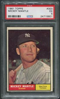 1961 Topps Baseball #300 Mickey Mantle PSA 5 (EX)
