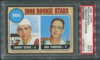 1968 Topps Baseball #247 Rookie Stars Johnny Bench Rookie PSA 7 (NM)