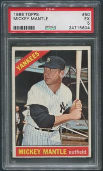 1966 Topps Baseball #50 Mickey Mantle PSA 5 (EX)