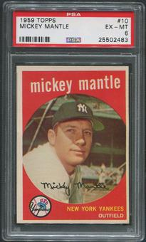 1959 Topps Baseball #10 Mickey Mantle PSA 6 (EX-MT)