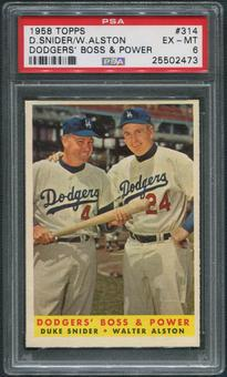 1958 Topps Baseball #314 Dodgers Boss and Power Duke Snider & Walt Alston PSA 6 (EX-MT)