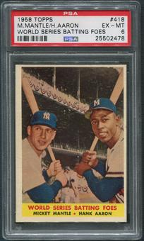 1958 Topps Baseball #418 World Series Batting Foes Mickey Mantle & Hank Aaron PSA 6 (EX-MT)