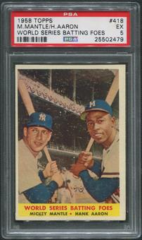 1958 Topps Baseball #418 World Series Batting Foes Mickey Mantle & Hank Aaron PSA 5 (EX)