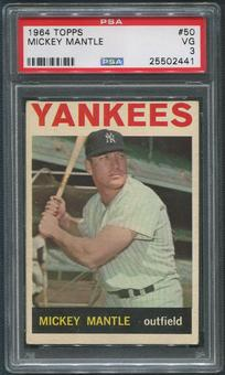 1964 Topps Baseball #50 Mickey Mantle PSA 3 (VG)