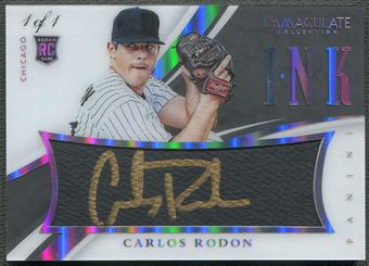 2015 Immaculate Collection #37 Carlos Rodon Immaculate Ink Platinum Rookie Auto #1/1