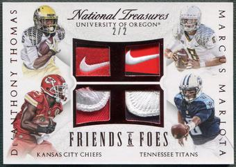 2015 National Treasures #13 De'Anthony Thomas & Marcus Mariota Rookie Brand Logo Patch Nike Swoosh #2/2