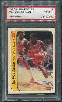 1986/87 Fleer Basketball Stickers #8 Michael Jordan Rookie Sticker PSA 9 (MINT)