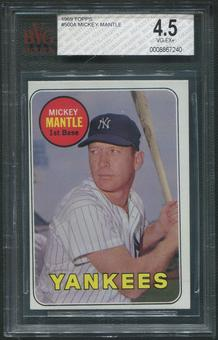 1969 Topps Baseball #500 Mickey Mantle Yellow Letters BVG 4.5 (VG-EX+)