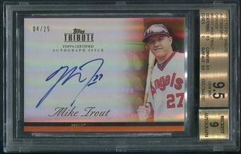 2012 Topps Tribute #MTR1 Mike Trout Orange Auto #04/25 BGS 9.5 (GEM MINT)