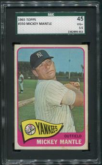1965 Topps Baseball #350 Mickey Mantle SGC 45 (VG+) 3.5