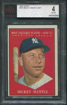 1961 Topps Baseball #475 Mickey Mantle MVP BVG 4 (VG-EX)