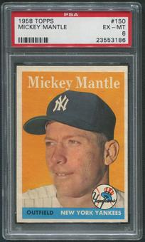 1958 Topps Baseball #150 Mickey Mantle PSA 6 (EX-MT)