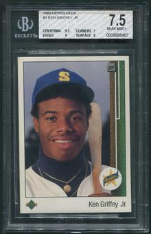 1989 Upper Deck Baseball #1 Ken Griffey Jr. Rookie BGS 7.5 (NM+)