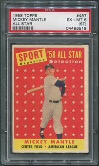 1958 Topps Baseball #487 Mickey Mantle All Star PSA 6 (EX-MT) (ST)