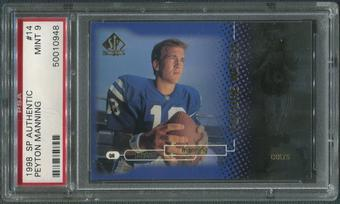 1998 SP Authentic Football #14 Peyton Manning Rookie #1798/2000 PSA 9 (MINT)