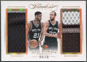 2014/15 Panini Flawless #20 Tim Duncan & Manu Ginobili Dual Diamond Gold Patch #04/10