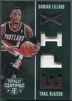 2014/15 Totally Certified #10 Damian Lillard EPIX Moment Quad Memorabilia Green Jersey #5/5