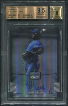 2012 Leaf Metal Draft #YP1 Yasiel Puig Rookie Prismatic Auto #55/99 BGS 9.5 (GEM MINT)