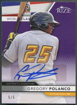 2013 Rize Draft #9 Gregory Polanco Rookie World Class Purple Auto #5/5