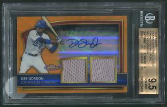 2011 Finest #82 Dee Gordon Rookie Orange Refractor Jersey Auto #72/99 BGS 9.5 (GEM MINT)