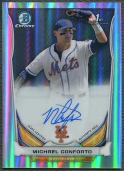 2014 Bowman Chrome Draft #BCAMC Michael Conforto Draft Pick Rookie Refractor Auto