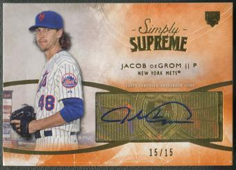 2014 Topps Supreme #SSUJD Jacob deGrom Simply Supreme Rookie Orange Auto #15/15