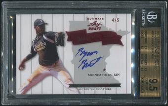 2012 Leaf Ultimate Draft #BB1 Byron Buxton Rookie Heading to the Show Red Auto #4/5 BGS 9.5 (GEM MINT)