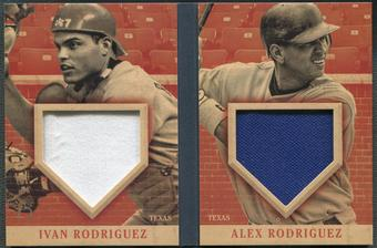 2013 Panini America's Pastime #4 Ivan Rodriguez & Alex Rodriguez Front Row Fabrics Booklet Red Jersey #12/14