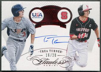 2016 Panini Flawless #24 Trea Turner Rookie Transitions Ruby Auto #16/20