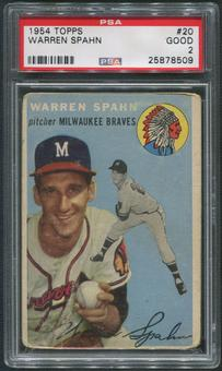 1954 Topps Baseball #20 Warren Spahn PSA 2 (GOOD)