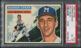 1956 Topps Baseball #10 Warren Spahn Gray Back PSA 4 (VG-EX)