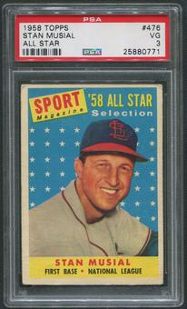 1958 Topps Baseball #476 Stan Musial All Star PSA 3 (VG)