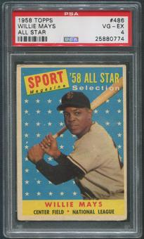 1958 Topps Baseball #486 Willie Mays All Star PSA 4 (VG-EX)