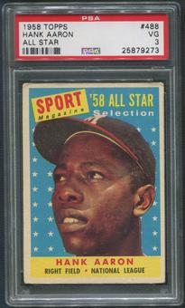1958 Topps Baseball #488 Hank Aaron All Star PSA 3 (VG)