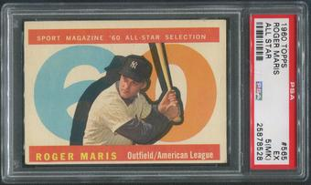 1960 Topps Baseball #565 Roger Maris All Star PSA 5 (EX) (MK)