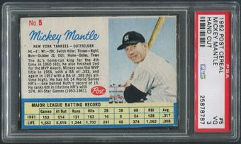 1962 Post Baseball #5 Mickey Mantle Hand Cut PSA 3 (VG)
