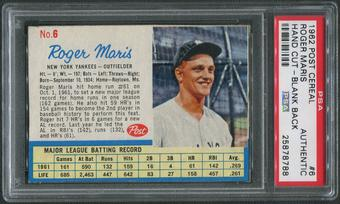 1962 Post Baseball #6 Roger Maris Hand Cut PSA Authentic