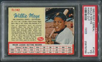 1962 Post Baseball #142 Willie Mays Hand Cut PSA 3 (VG)
