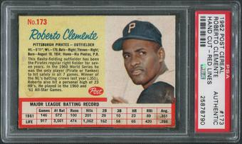 1962 Post Baseball #173 Roberto Clemente Hand Cut Red Lines PSA Authentic
