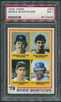 1978 Topps Baseball #707 Rookie Shortstops Paul Molitor Alan Trammell Rookie PSA 7 (NM)