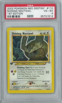 Pokemon Neo Destiny 1st Edition Shining Noctowl 110/105 Holo Rare PSA 4