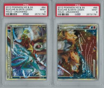 Pokemon Unleashed Suicine & Entei LEGEND 94/95 & 95/95 Both Halves PSA 9