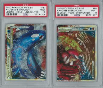 Pokemon Undaunted Kyogre & Groudon LEGEND 87/90 & 88/90 Both Halves PSA 9