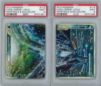 Pokemon HeartGold & SoulSilver Lugia LEGEND 113/123 & 114/123 Both Halves PSA 9