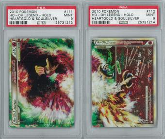 Pokemon HeartGold & SoulSilver Ho-oh LEGEND 111/123 & 112/123 Both Halves PSA 9