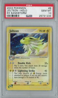 Pokemon EX Sandstorm Jolteon 6/100 Holo Rare PSA 10 GEM MINT