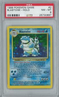 Pokemon Base Set Unlimited Blastoise 2/102 Holo Rare PSA 8