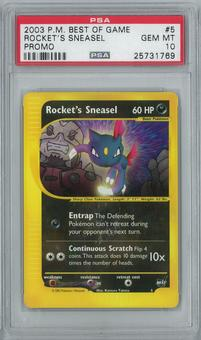 Pokemon Best of Game Rocket's Sneasel 5 Rare PSA 10 GEM MINT