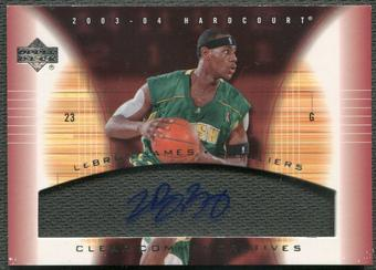 2003/04 Upper Deck Hardcourt #LJA LeBron James Clear Commemoratives Rookie Auto