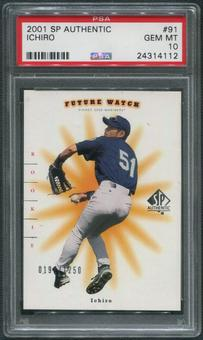 2001 SP Authentic #91 Ichiro Suzuki Future Watch Rookie #0191/1250 PSA 10 (GEM MT)